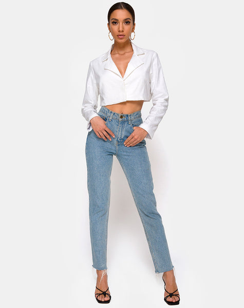 Noly Cropped Blazer in Ivory