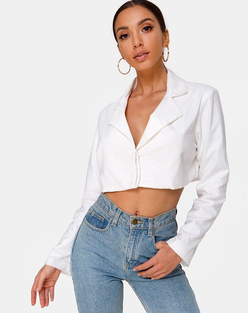 Noly Cropped Blazer in Ivory by Motel