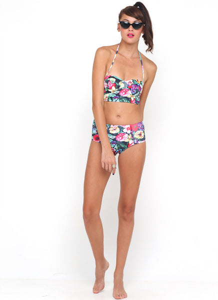 Motel Opal Midi Rise Bikini Bottom in Cottage Garden