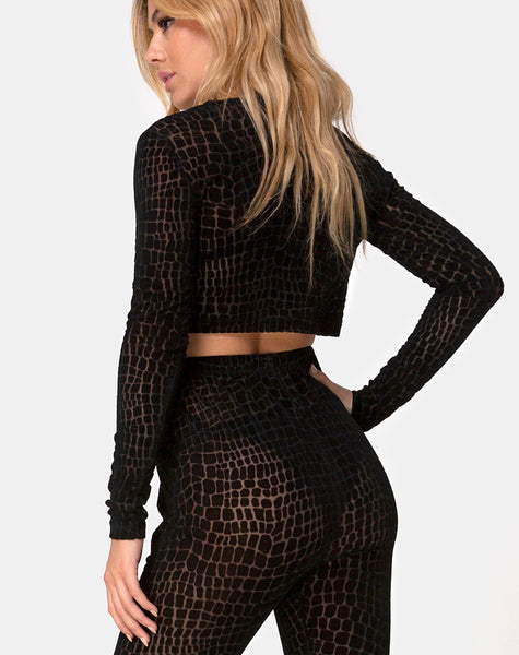 Boro Crop Top in Croc Flock Black by Motel
