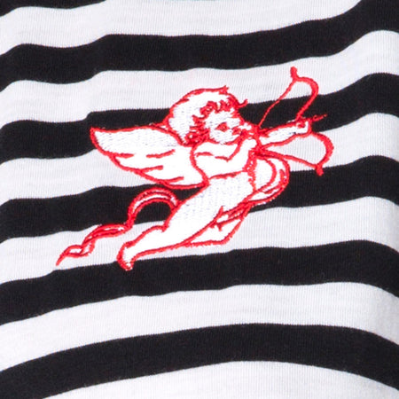 Oversize Basic Tee in Black and White Stripe with Cherub Embro