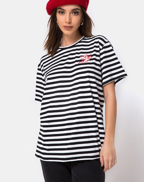 Oversize Basic Tee in Black and White Stripe with Cherub Embro by Motel