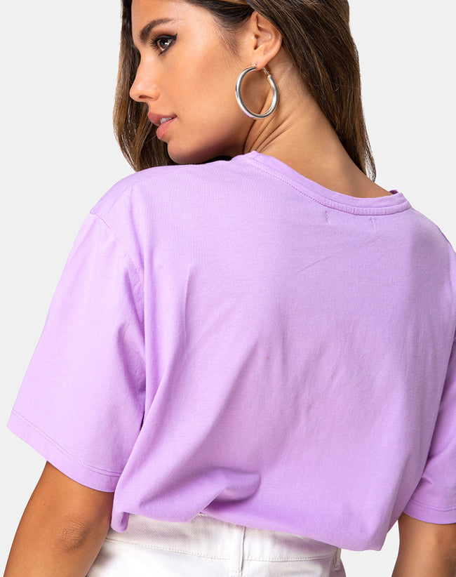 Oversize Basic Tee in Lilac with Angel Embro by Motel