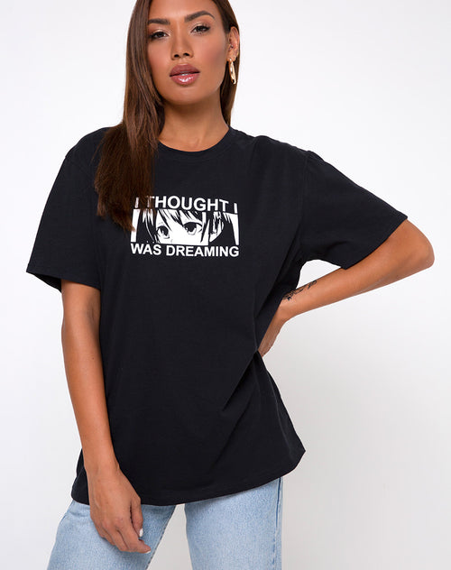 "Oversized Basic Tee in ""I thought I was dreaming"" Black by Motel"