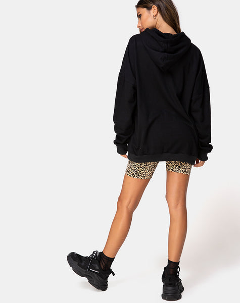 Oversize Hoody in Black with Angel Embro by Motel