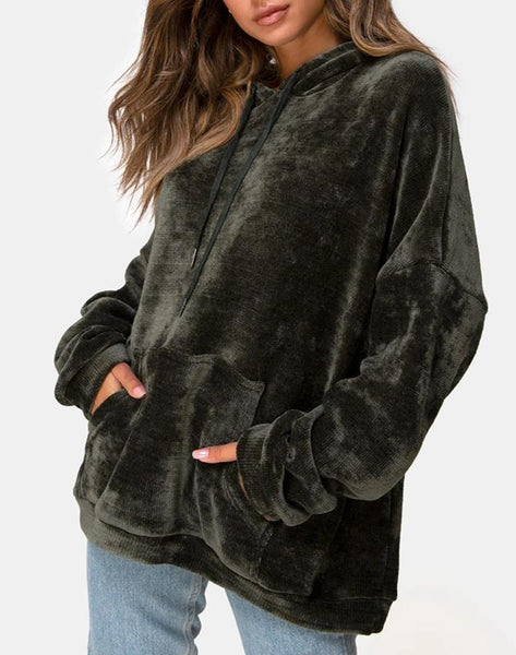 Oversize Hoody in Chenille Olive