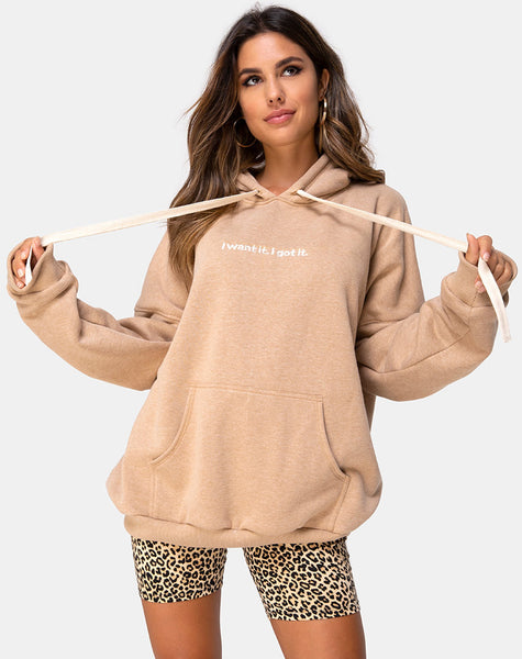 Oversize Hoody in Tan I Want it Embro by Motel