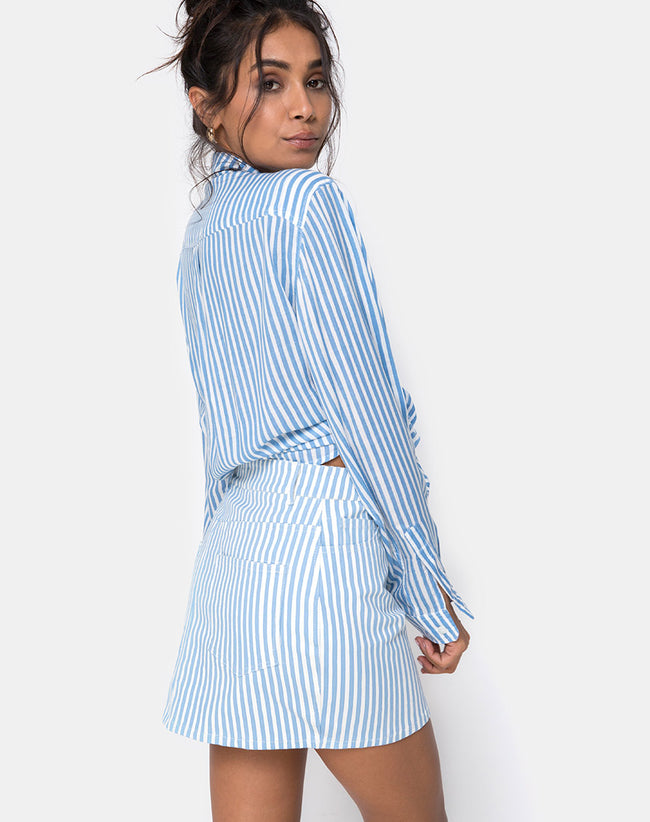 f4bbbc51eff Oxford Shirt in Basic Stripe Blue and White by Motel