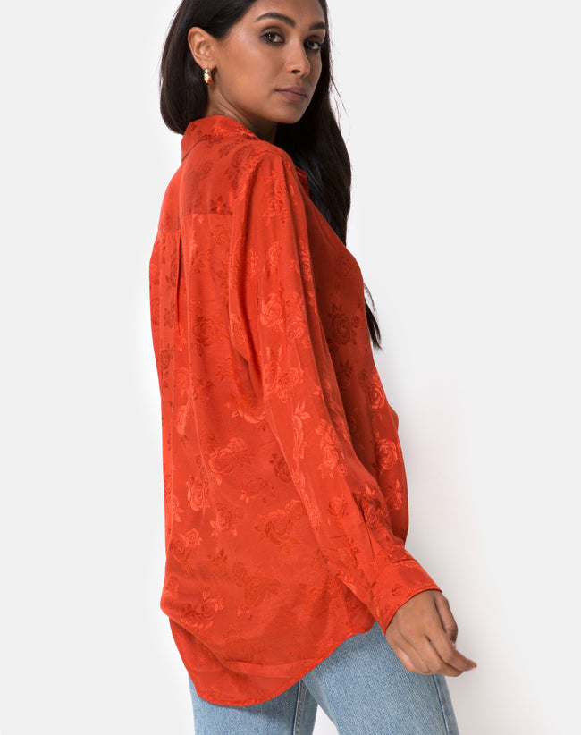 Oxford Shirt in Satin Rust Rose by Motel