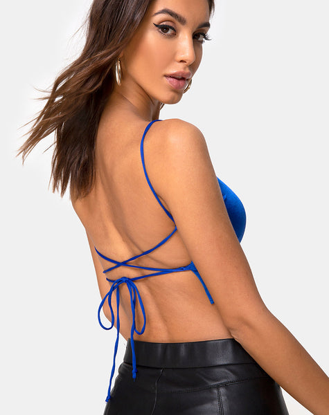 Cinia Crop Top in Satin Saphire Spandex by Motel