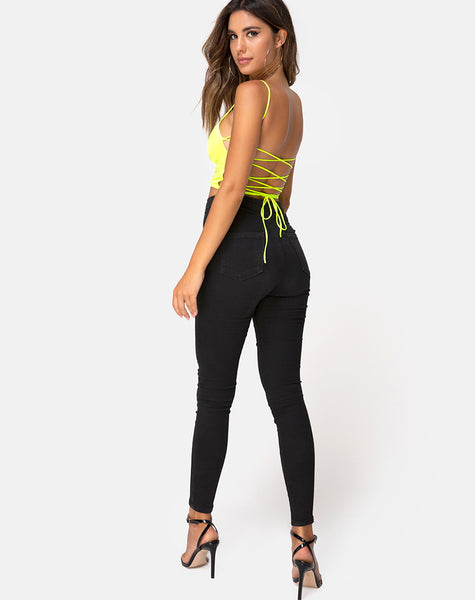 Ozka Crop Top in Satin Neon Yellow by Motel