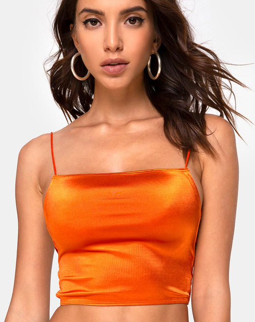 Ozka Crop Top in Satin Salt Caramel
