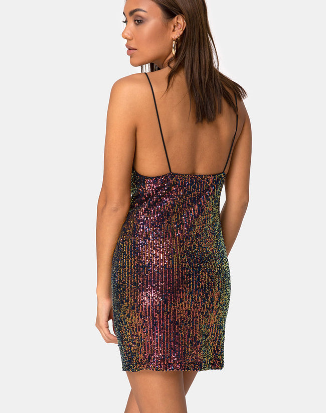 Paiva Slip Dress in Drape Net Sequin Iridescent Burgundy by Motel