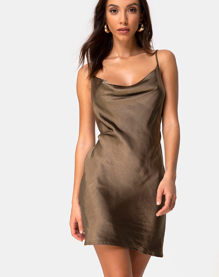 Datista Dress in Satin Dark Rust