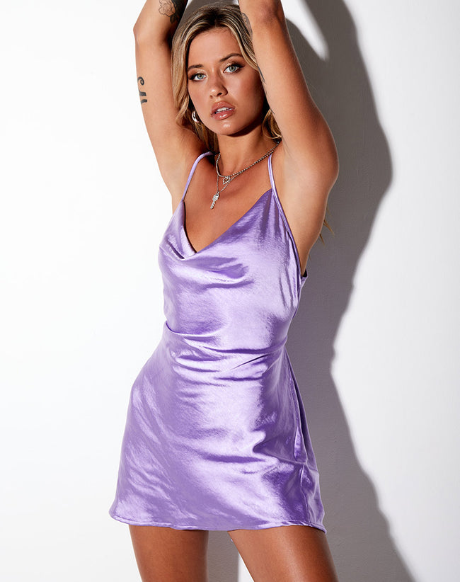 Paiva Slip Dress in Satin Lilac