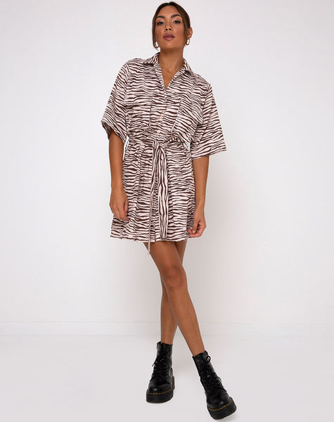 Pamela Dress in Easy Tiger Cocoa by Motel