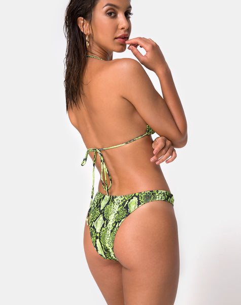 Pami Bikini Bottom in Slime Lime Snake by Motel