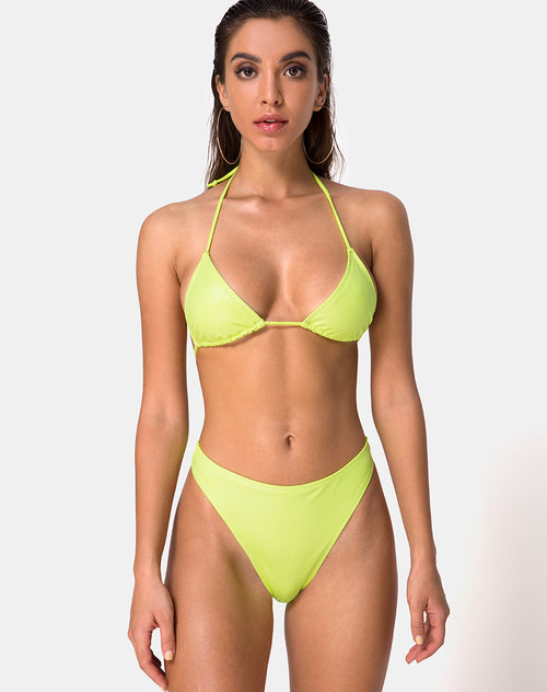 Pami Bikini Top in Coated Lime by Motel