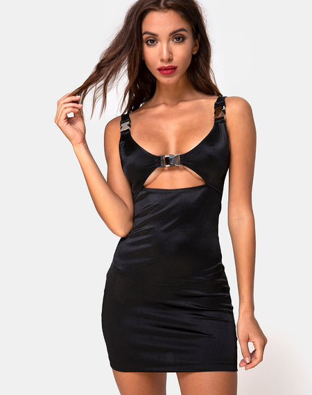 Matcha Mini Dress in Black by Motel