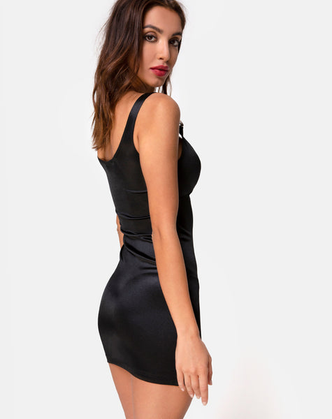 Panna Dress in Satin Black