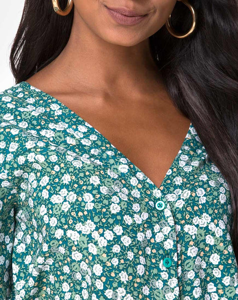 Parki Top in Floral Field Green by Motel