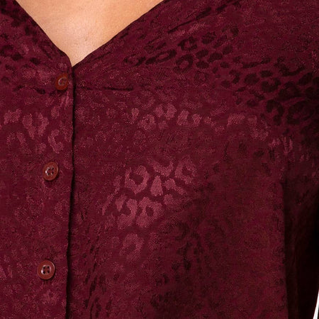 Parki Top in Satin Cheetah Burgundy