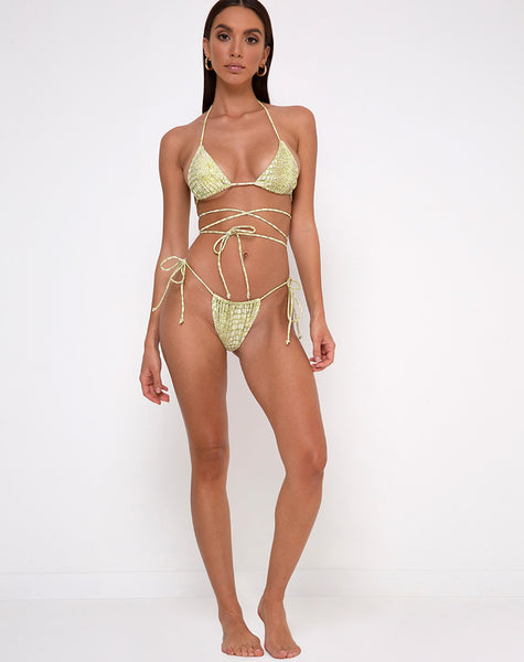Leyna Bikini Bottom in Croc Green by Motel