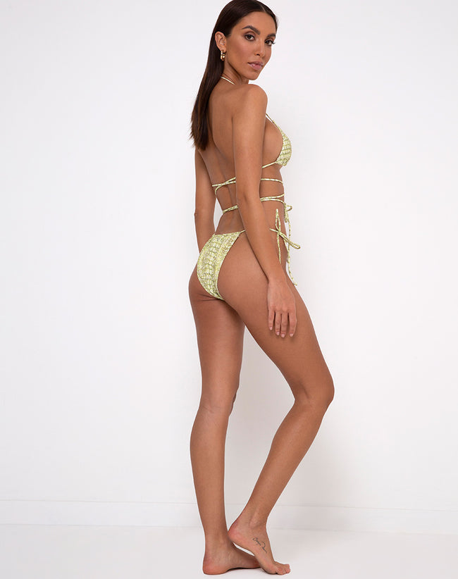 Leyna Bikini Bottom in Croc Green