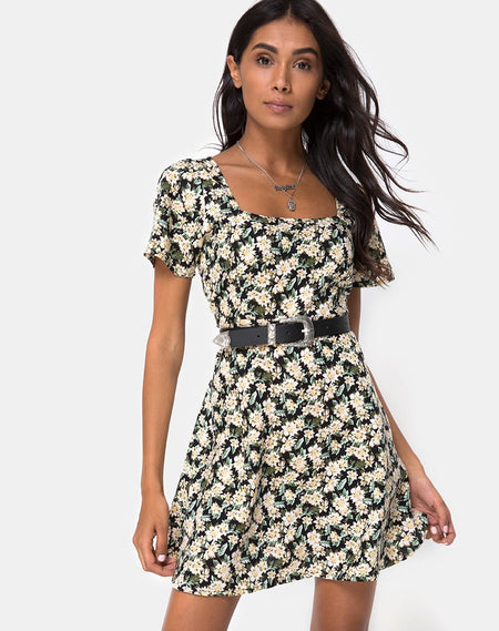 Gaval Mini Dress in Dark Wild Flower by Motel