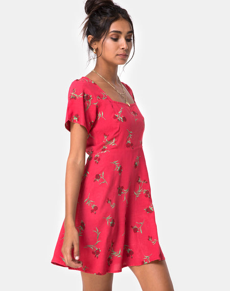 Kumala Slip Dress in Ditsy Rose Red and Silver