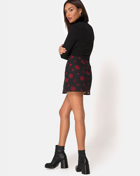 Pelmet Skirt in China Town Black Red by Motel