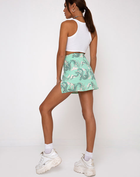 Pelmet Mini Skirt in Chinese Dragon Neo Mint