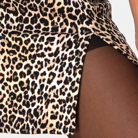 Pelmet Mini Skirt in Rar Leopard Brown by Motel