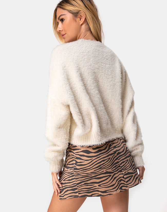 Pelmet Skirt in 90's Zebra Taupe by Motel