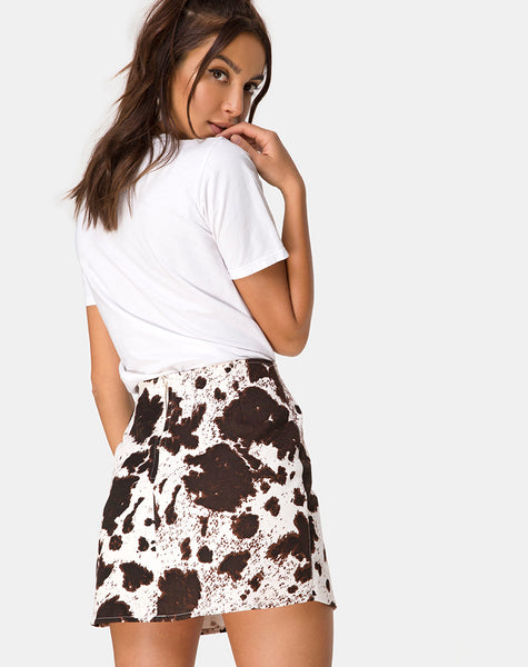 Pelmo Mini skirt in Cow Hide Brown and White