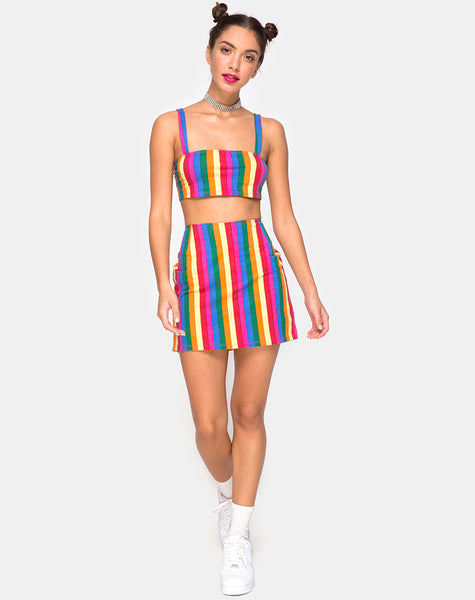 Pelmo Mini Skirt in Good Times Stripe by Motel X Princess Polly