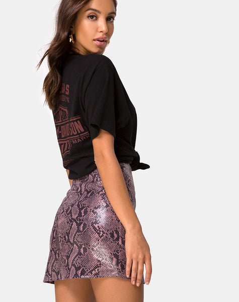 Pelmo Mini Skirt in Snake Mauve by Motel