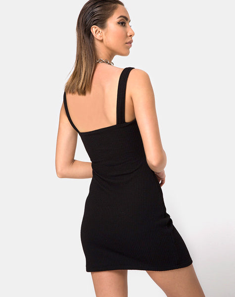 Pendan Bodycon Dress in Rib Black