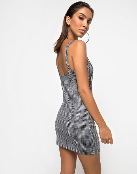 Petra Bodycon Dress in Charles Check Grey by Motel