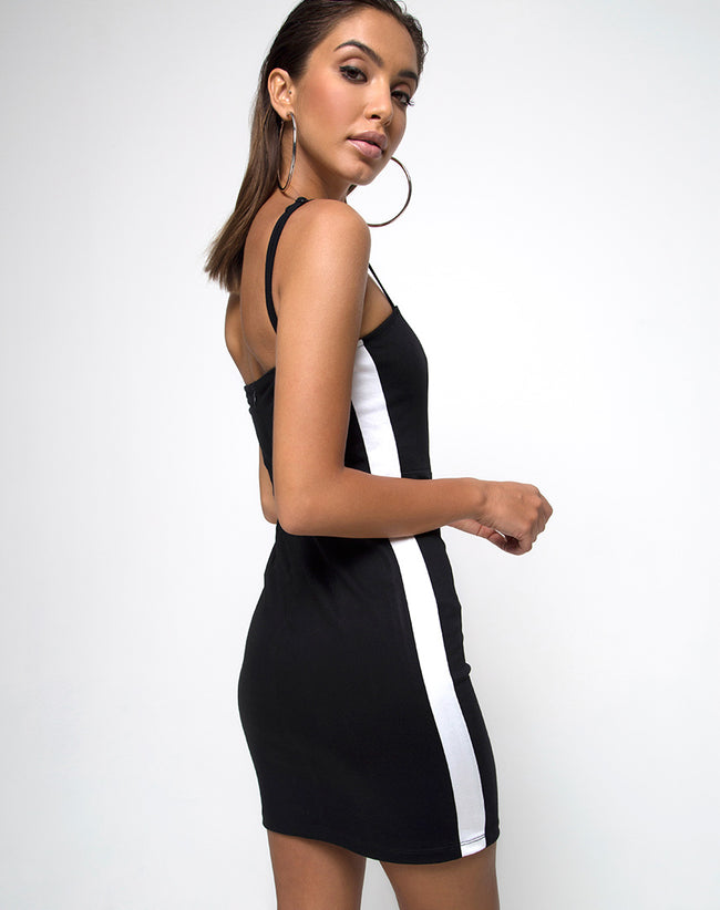 Peyas Bodycon Dress in Black with White Stripe by Motel