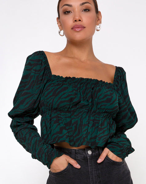 Piery Top in 90's Zebra Forest Green by Motel