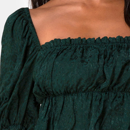 Piery Top in Satin Cheetah Forest Green by Motel