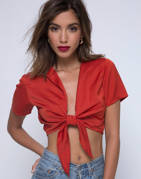 Pilar Blouse in Satin Rust by Motel