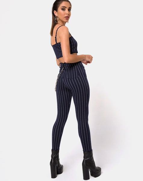Pin Pants in Navy Pinstriped By Motel