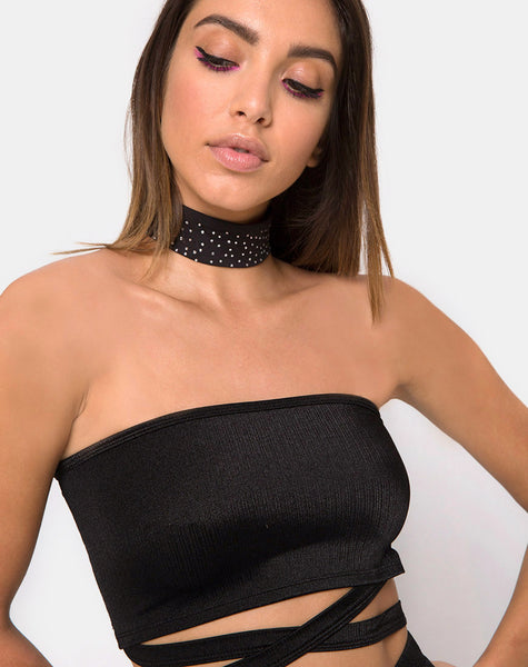 Dorian Criss Cross Tube Top in Black By Motel