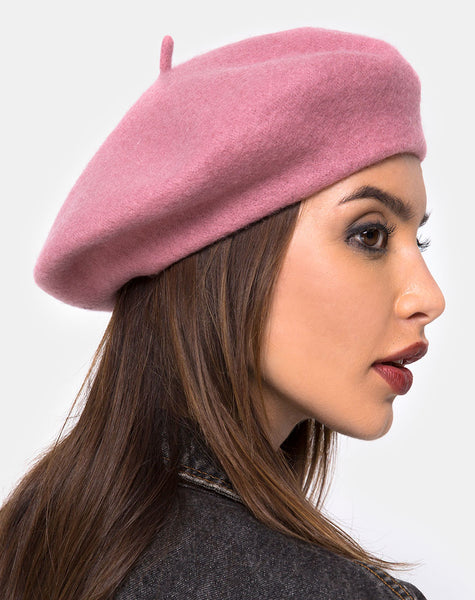 Wool Beret in Dusky Pink By Motel