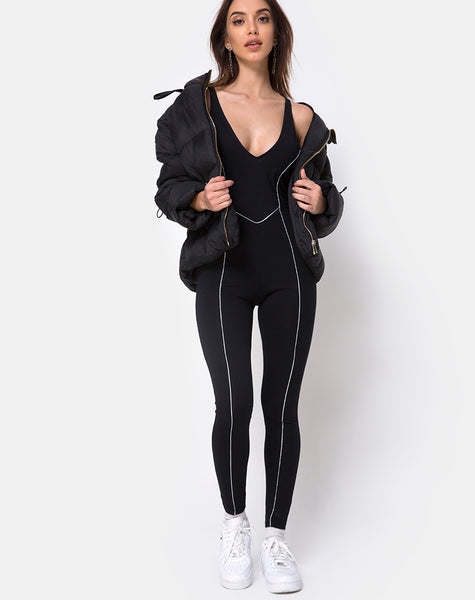 Pion Plunge Catsuit in Black with Piping Line by Motel