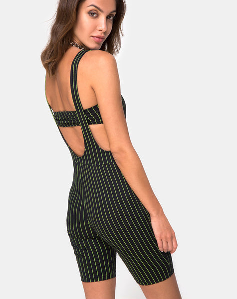 Poton Cutout Unitard in Neon Pinstripe by Motel