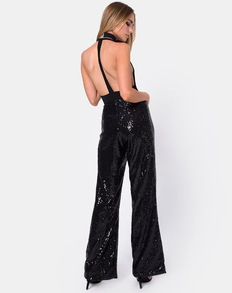 Prague Trouser in Mini Sequin Black by Motel