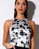 Prapa Top in Dalmatian Black and White